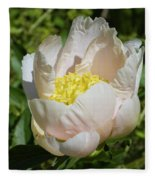 Delicate Pastel Peach Cupped Peony Blossom Fleece Blanket