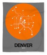 Denver Orange Subway Map Fleece Blanket