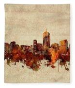 Denver Skyline Sepia Fleece Blanket