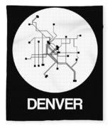 Denver White Subway Map Fleece Blanket