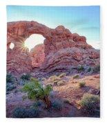 Desert Sunset Arches National Park Fleece Blanket