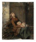Destitute Dead Mother Holding Her Sleeping Child In Winter, 1850 Fleece Blanket