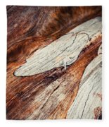 Detail Of Abstract Shape On Old Wood Fleece Blanket
