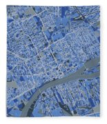 Detroit Map Retro 5 Fleece Blanket