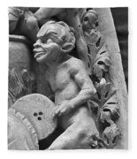 Devil Fanning The Fire, From The Last Judgement Of The Cathedral Of St Etienne In Bourges  Fleece Blanket