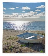 Dinghy On A Sunny Beach Fleece Blanket