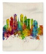Doha Qatar Skyline Fleece Blanket