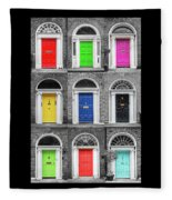 Doors Of Dublin - Vertical Fleece Blanket