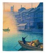 Dotonbori Morning - Top Quality Image Edition Fleece Blanket