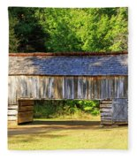 Double Crib Barn In Cades Cove In Smoky Mountains National Park Fleece Blanket