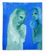 Double Portrait On Blue Sky Fleece Blanket