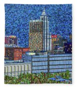 Downtown Raleigh - City At Night Fleece Blanket