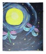 Dragonflies And Moonlight Fleece Blanket