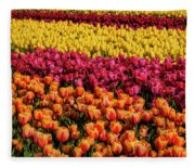 Dreaming Of Endless Colorful Tulips Fleece Blanket