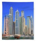 Dubai Marina Dubai Uae Fleece Blanket