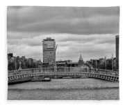 Dublin Ireland - Ha Penny Bridge In Black And White Fleece Blanket