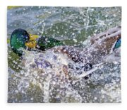Duck Fight Fleece Blanket