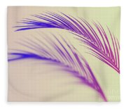 Duotone Background Of Tropical Palm Leaves Fleece Blanket