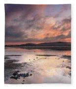 Dusky Pink Sunrise Bay Waterscape Fleece Blanket