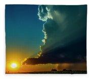 Dying Nebraska Thunderstorms At Sunset 068 Fleece Blanket