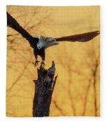 Eagle Flying Off Fleece Blanket by Steven Santamour