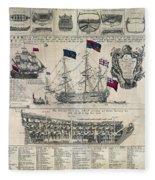 Early 18th Century British Man Of War Ship Diagram Fleece Blanket