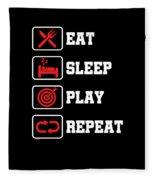 Eat Sleep Play Repeat Archery Archer Sports Hobby Players Fleece Blanket
