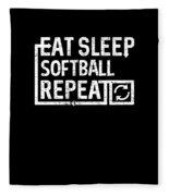 Eat Sleep Softball Fleece Blanket