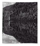 Echo Lake Reflection Black And White Fleece Blanket