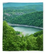 Edersee Lake Surrounded With Forest Fleece Blanket