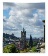 Edinburgh Castle From Calton Hill Fleece Blanket
