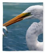 Egret Feeding  Fleece Blanket