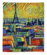 Eiffel Tower And Paris Rooftops In Sunlight Textural Impressionist Stylized Cityscape Mona Edulesco Fleece Blanket
