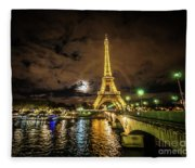 Eiffell Tower At Night After The Storm Passed Fleece Blanket