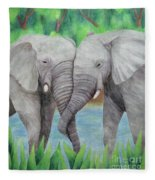 Elephant Couple Fleece Blanket