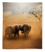 Elephants At Sunset 072 - Painting Fleece Blanket