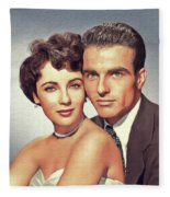 Elizabeth Taylor And Montgomery Clift, Hollywood Legends Fleece Blanket
