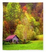 Embraced In Autumn Color Painting Fleece Blanket