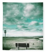 Empty Beach Bench Fleece Blanket