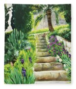 Escaliers A Villefranche Fleece Blanket
