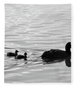 Eurasian Coot And Offspring In Ria Formosa, Portugal. Monochrome Fleece Blanket