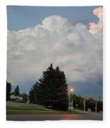 Evening Lightning Storm Illuminates The Sky Fleece Blanket