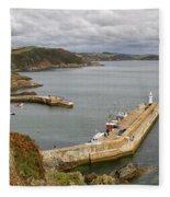 Evening Over Mevagissey Harbour  Fleece Blanket