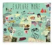 Exlore More World Map Fleece Blanket