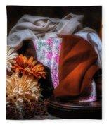 Fabric And Flowers Fleece Blanket