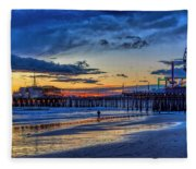 Fading To The Blue Hour - Ferris Wheel Fleece Blanket
