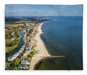 Fairfield Beach Connecticut Aerial Fleece Blanket