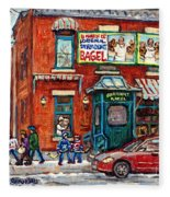 Fairmount Bagel Bakery Laneway Hockey Art Depanneur Winter Scenes C Spandau Montreal Landmark Stores Fleece Blanket