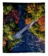 Fall Aerial With Bridge Fleece Blanket