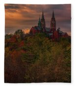 Fall Clouds Over Holy Hill Fleece Blanket